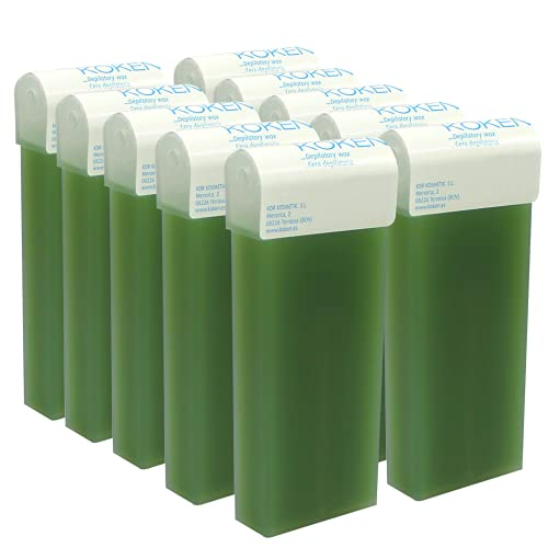 KOKEN - Cera Depilatoria Roll-on 100ml Universal - Pack 10 Cartuchos Aloe Vera (Resinas 100% Españolas)