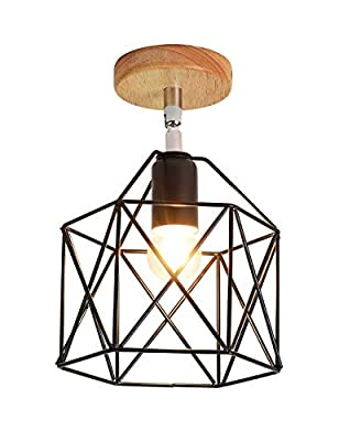 Semi-Flush Mount Ceiling Light,Lighting Angle Adjustable Industrial Vintage Style Metal Cage Shade with Wood Canopy Ceiling Lamp Fixture for Hallway Stairway Bedroom Kitchen, Black.