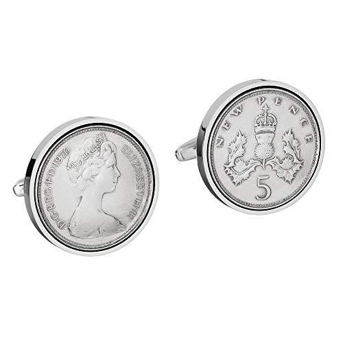 Manschettenknöpfe zum 50. Geburtstag für Herren – große 1970 englische große 5P Münzen – echte 1970 Münzen – sehr große Münzen – alte 5P Münzen in Größe – 23 mm
