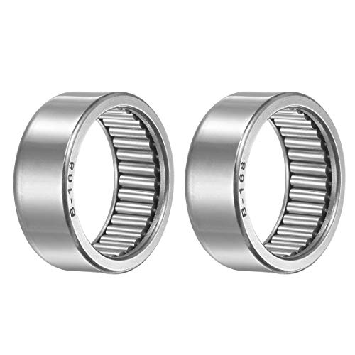 uxcell B168 Needle Roller Bearings, Full Complement Drawn Cup, Open, 1-inch I.D. 1-1/4-inch OD 1/2-inch Width 6390N Static Load 3620N Dynamic Load 4300Rpm Limiting Speed 2pcs