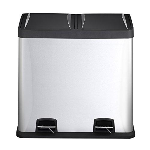 Mari Home 48L Cubo de basura de acero inoxidable huella digital resistente Basurero reciclaje Dos compartimientos Con penal (2 penal, 2x24L)