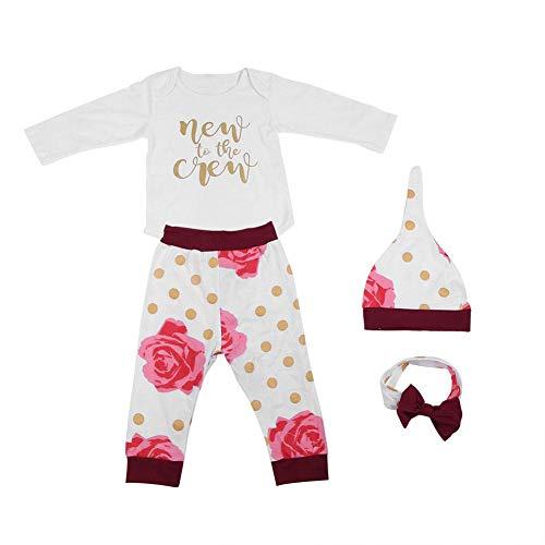 Zerodis 4 Stücke Kleinkind Kleidung Sets Langarm Punkte Gedruckt Baby Mädchen Outfit Top Pants Cap Haarband(90)