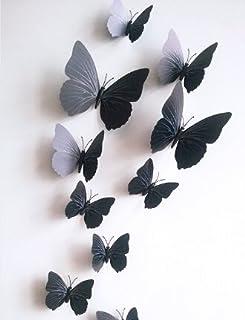 Chytaii. 12Pcs Decoracion Pared Casa De Pegatinas Decoración del Hogar Papel Pintado Mural Fotomural 3D Mariposa Manualidades Vinilos Decorativos