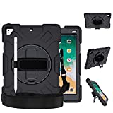 iPad Air 2 Case, iPad 5th / 6th Generation Case, iPad 9.7 Inch 2018/2017 Case, Shockproof Protective Cover Case,360 Rotating Stand Hand Strap Shoulder Strap Pencil Holder for iPad Pro 9.7 inch,Black