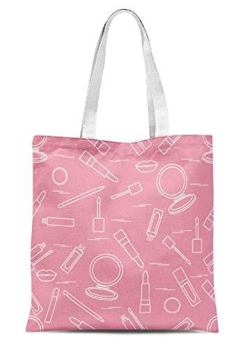 Girls Pattern Canvas Tote Bag Makeup Different Lip Make Mumultibags School