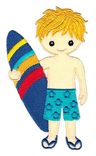 Patch Surfer Wellenreiter Sunny Boy Surfbrett Sport Aufnäher Bügelbild Flicken Größe 5,8 x 10,3 cm