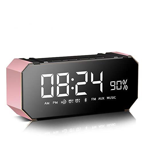 FPRW Led digitale wekker, pratende Bluetooth multifunctionele elektronische nachtkastje, audio bureaublad niet tikken klokken, roze