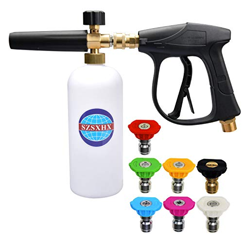 SZSXHX S300 Foam Cannon Gun 3000 PSI High Pressure Washer Foam Wash Gun Car Washer Gun with 7...
