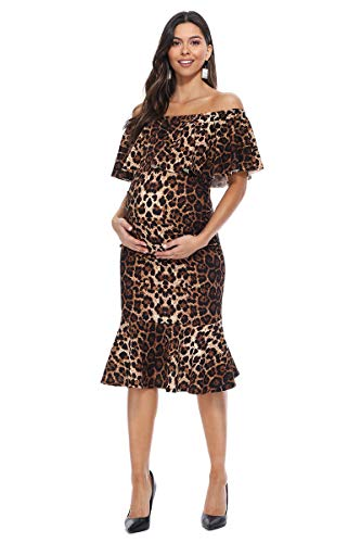 My Bump Women's Ruffle Off-Shoulder Maternity Ruched Mermaid Dress(Made in USA)(Brown Leopard, Large)