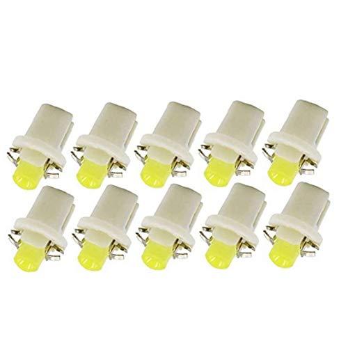 nJiaMe COB LED Salpicadero Cua Bombillas T5 Panel de Instrumentos B8.5-1SMD para el Coche Número de Paneles Placa Blanca 10PCS