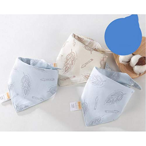Sccarlettly Living Home Baby Triangle Serviette Bavoir Chic Casual Coton Salive Tissu Double Quatre Saisons 3 Pcs Ensemble (Couleur Bleu) (Color : Blau, Size : Size)