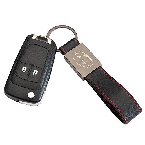 Schlüssel Gehäuse Fernbedienung für Opel 2 Tasten Autoschlüssel Funkschlüssel Insignia Astra Zafira Vauxhall Holden Mokka mit Leder Schlüsselanhänger KASER
