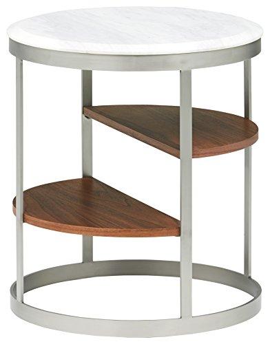 Marca Amazon -Rivet - Mesa auxiliar redonda con tres estantes (mármol blanco y acero inoxidable)
