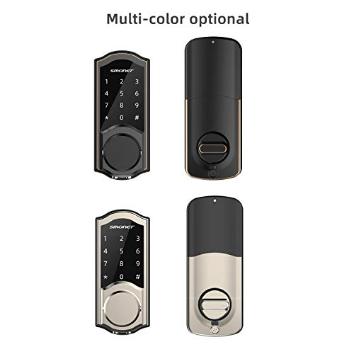 Smart Deadbolt, SMONET Door Lock Keyless Entry, Bluetooth Locks Front Door Touchscreen Keypad, Physical Keys, Auto Lock, Remote Share,Send eKey,Free Smartphone APP Control for Home, Airbnb, Apartment