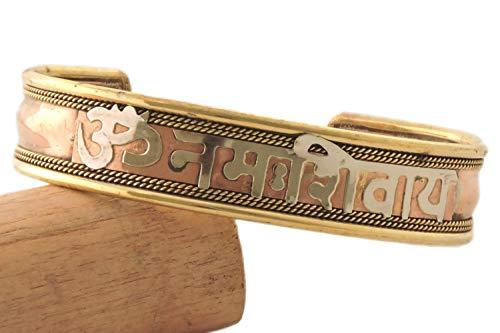 Handmade Tibetan Three Metal Healing Mantra Yoga Bracelet (Om Nama Shivaye)