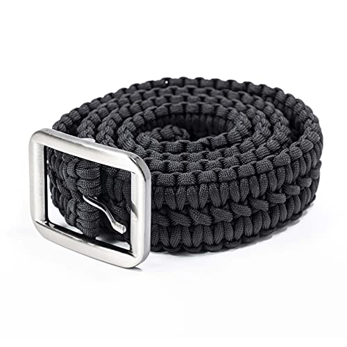 ASR Outdoor Survival EDC 550 Paracord Belt with Stainless Steel Buckle, Black 48 inches