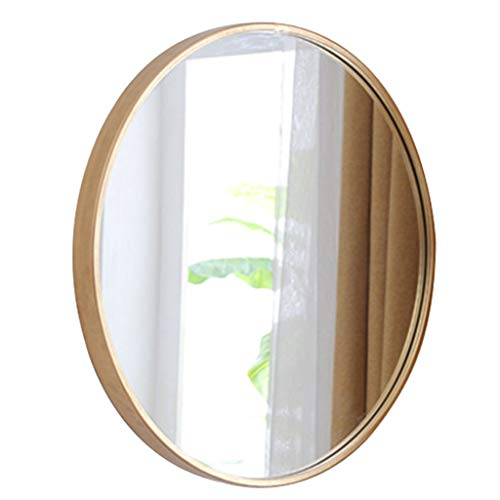 Round Wall Mirror, Circular Wall Mounted Decorative Mirror, Metal Copper Alloy Frame, Best for Vanity Washrooms Bathroom and Living Rooms- Gold Color