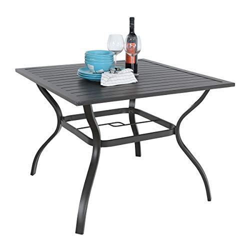 PHI VILLA 37' x 37' Patio Outdoor Dining Table with Umbrella Hole, Square Bistro Metal Steel Slat Table for Garden Backyard Poolside Deck, Black