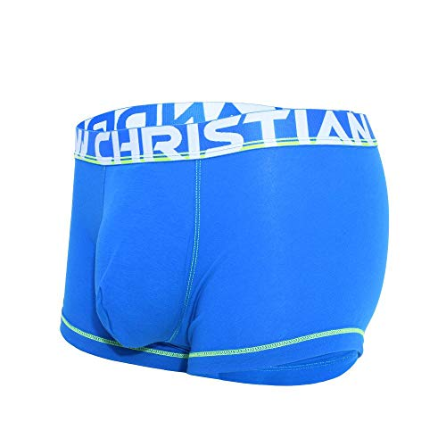 Andrew Christian Mens Cotton Boxer with Almost Naked Pouch, Electric Blue, Medium