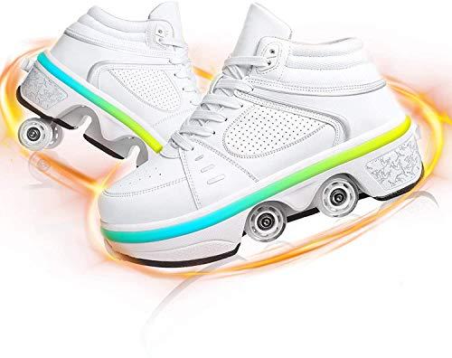 SHHAN Invisible Zapatos con Ruedas, LED Deform Wheels Patines Zapatos con Ruedas Zapatillas Informales, Patines para Caminar Hombres Mujeres Patines De Cuatro Ruedas,White led,39