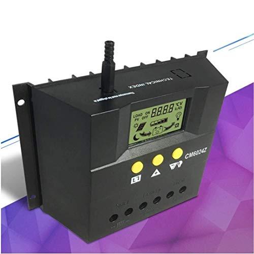 KAIBINY Controlador de Cargador Solar Regulador de Panel Solar LCD Visualización de Cristal líquido PWM Carga 60 A 12 V / 24 V Protección de sobrecarga de Sensor de Temperatura (Edición: CM6024Z)