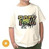 Del Sol Camiseta para niños pequeños – REX, camiseta natural, cambia de negro a colores vibrantes en el sol – 100% algodón peinado, hilado en anillo, jersey fino, ajuste relajado – Talla 3T