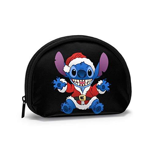 Stitch Viste un Disfraz de Navidad Lindo Mini Monedero Estampado La Forma de Concha Puede almacenar Monedas