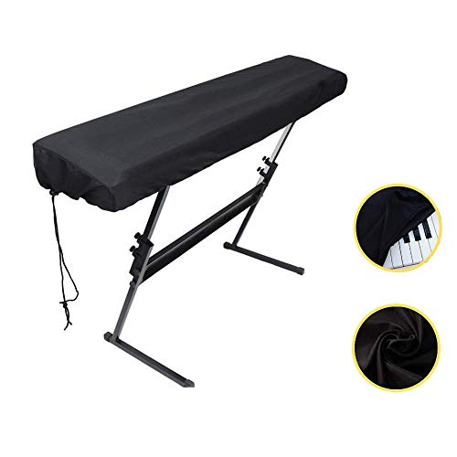 Piano Keyboard Dust Cover for 61/76/88 Keys- Electric/Digital Piano Stretchable Protective Keyboard Cover, Elastic Cord Locking Clasp, Machine Washable (88 Keys)