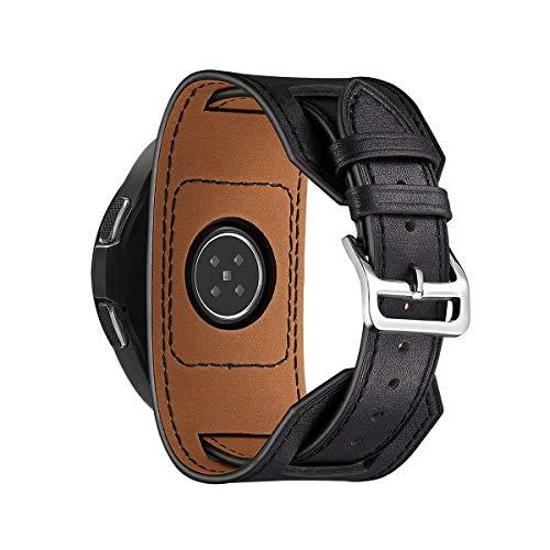 VeveXiao Correa Reloj Cuero Compatible con Samsung Galaxy watch3 45mm/Galaxy 46mm Gear S3,22mm liberación rápida Brazalete Correa Reloj Genuino Correas Pulseras para Garmin Vivoactive 4 45mm (Negro)