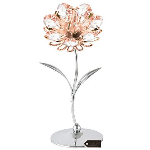 Matashi Chrome & Rose Gold Crystal Studded Sunflower Figurine Table-Top Ornament Everlasting Keepsake - Home Decor, Bridal Shower, Centerpiece, Wedding, Birthday, Mothers Day, Valentines Day