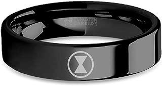 Marvel Avengers Black Widow Logo Engraved Black Tungsten Ring - 6 mm