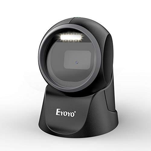 Eyoyo 1D 2D Lecteur de Codes-Barres de Bureau Scanner Mains Libres Omnidirectionnel avec Détection Automatique pour POS PC Supermarché Librairie Retail Mall