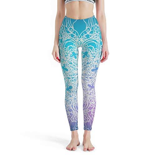 XJJ88 -Textuur Vrouwen Zachte Enkel Broek, Mandala Gedrukt Hoge Taille Panty Magische Mandala Patronen Gedrukt Yoga Capris Gedrukt Capris voor Vrouwen Casual Zomer Denim