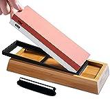S SATC Schleifstein, Körnung 1000/6000 Wetzstein 2-IN-1 Sharpening Stone Abziehstein Professionell Messerschärfer mit Rutschfeste Bambusbasis und Winkelführung für Messer