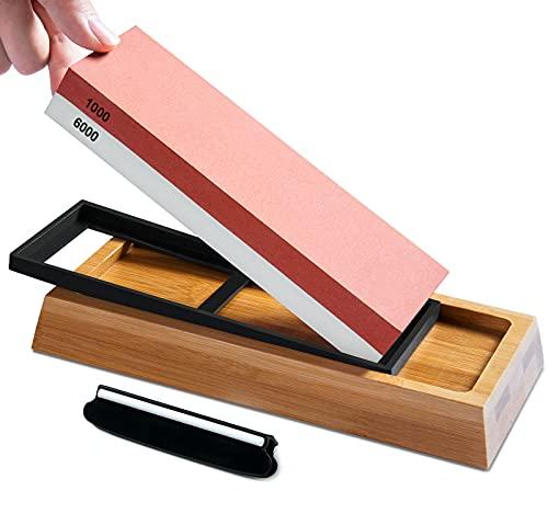 S SATC Schleifstein Messer Körnung 1000 6000 Wetzstein für Messer 2-IN-1 Schleifstein Set Professionell Messerschärfer mit Rutschfeste Bambusbasis und Winkelführung