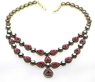 costozon uncut diamond necklace 46 Tcw Ruby, Topaz Rose Cut Diamond 925 Sterling Silver vintage style jewellery