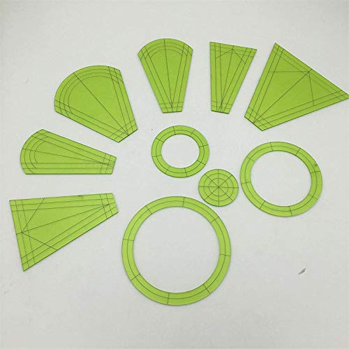 Dresden Plate Quilting Template Set, Patchwork Maker Kit for Quilting Templates, Templates Dresden Petals for Domestic Sewing Machine Quilting Cutting Mats 10pcs/Set