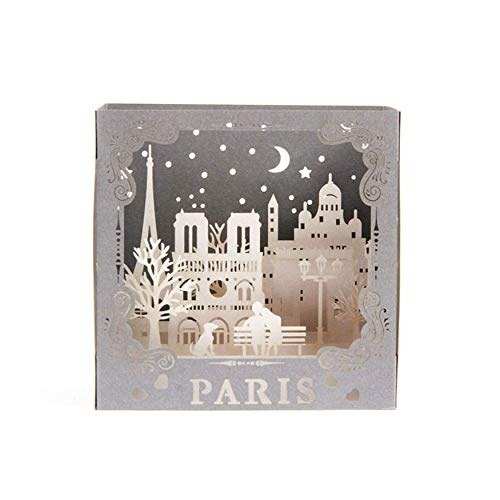 Tarjeta de San Valentín para marido, regalo romántico para marido, esposa, novio, novia, prometido, hombre, bonito diseño de París pop-up tarjeta de felicitación 3D
