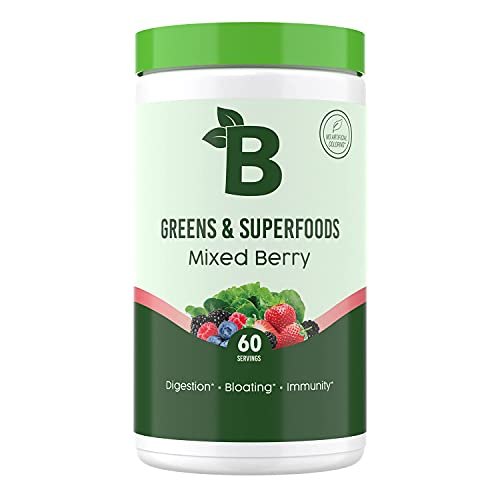 Bloom Nutrition Green Superfood | Super Greens Powder Juice & Smoothie Mix | Complete Whole Foods (Organic Spirulina, Chlorella, Wheat Grass), Probiotics, Digestive Enzymes, & Antioxidants (Berry)