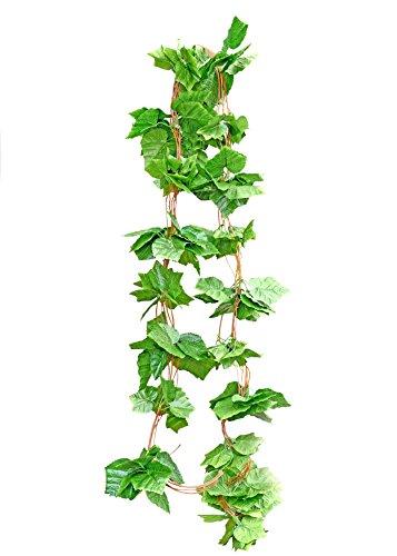 FiveSeasonStuff Garland Decorations Artificial Grape Leaves | Hanging Vine Plants Silk Greenery 5 Pcs (12.5m Length Coverage)