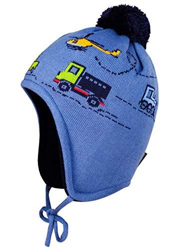 maximo Baby-Jungen mit Fahrzeugmotiven und Pompon und Bindeband Mütze, Blau (Denim/Navy 4048), (Herstellergröße: 47)
