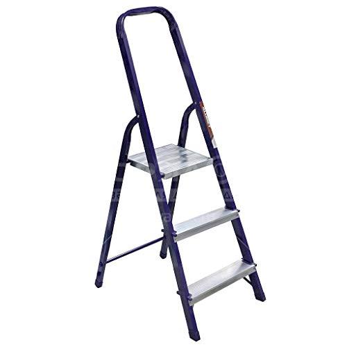 Daniks Klapptritt Stehleiter, Aluminium, rutschfest, max. statische Belastbarkeit 150 kg (3 Stufen)