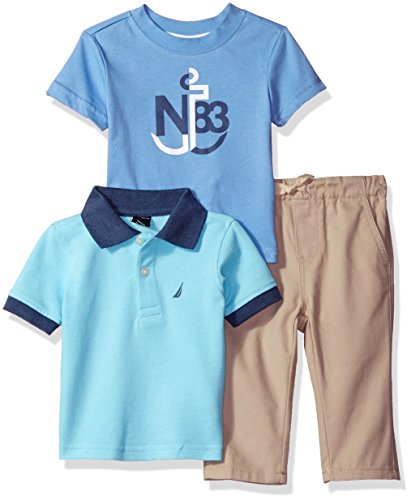 Nautica Baby Boys' Short Sleeve Polo, Tee, and Twill Pant Set, Curacao, 18 Months