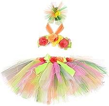 Tutu Dreams Hawaiian Hula Luau Skirt Set for Girls Birthday Beach Tiki NYE Party (Rainbow-2, 1-2T)