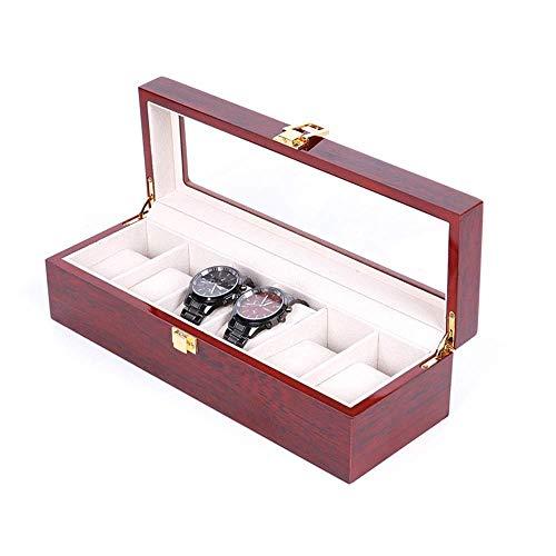 Caja de Reloj Caja de Almacenamiento Grande Caja de exhibición de joyería con Tapa Almohadillas extraíbles para Hombres o Mujeres Soporte de Caja de r