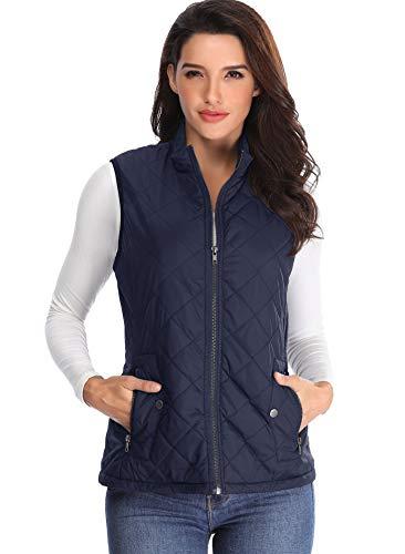 MISS MOLY Gilet Imbottito da Donna Leggero Colletto Blu Giacche con Zip Tasche Maniche Trapuntato Senza Cappuccio - XL