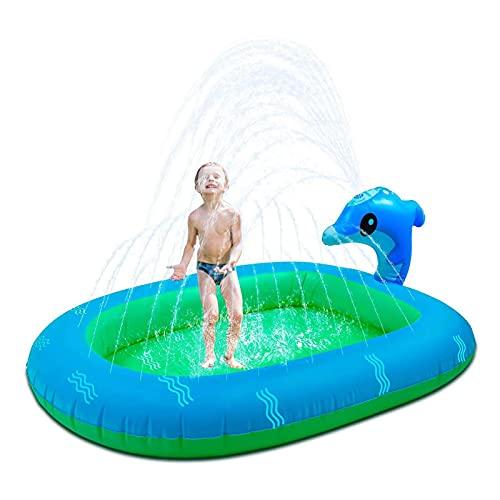 Sprinkler Pool para niños, 170 x 110 cm, piscina hinchable para juegos de agua, con sistema de pulverización, piscina infantil Kiddie para el jardín en verano al aire libre, patio trasero