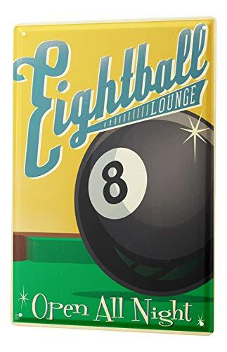 LEotiE SINCE 2004 Blechschild Wandschild 30x40 cm Vintage Retro Metallschild Retro Eightball Billiardkugel Acht