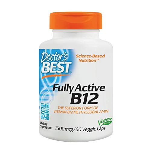 Doctor's Best, Fully Active B12 (Methylcobalamin), 1500 mcg, 60 Veggie Caps | Vitamin B12 high strength | Non-GMO | Vegan | Gluten Free | Supports Healthy Memory, Mood and Circulation