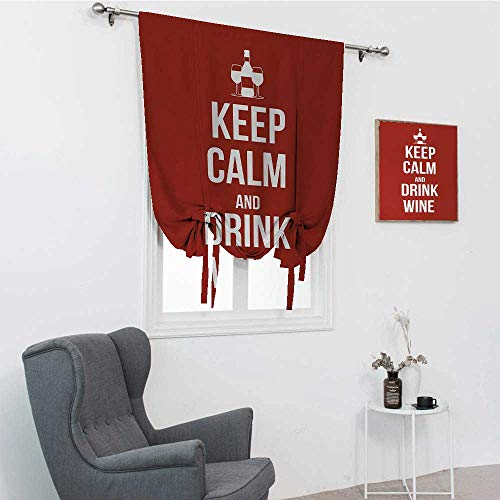 "GugeABC Cortina corta con texto en inglés ""Keep Calm con botella y dos vasos"", color blanco rubí, 121,9 x 162,6 cm"